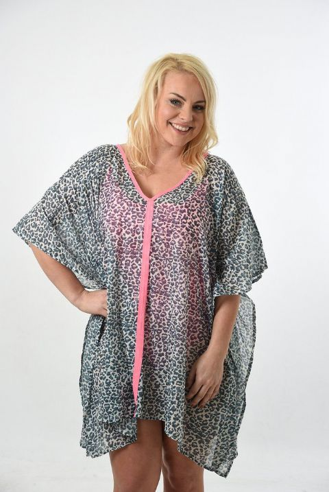 GREY LEOPARD KAFTAN WITH PINK NEON EDGE